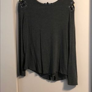 Long sleeve gray lace back top